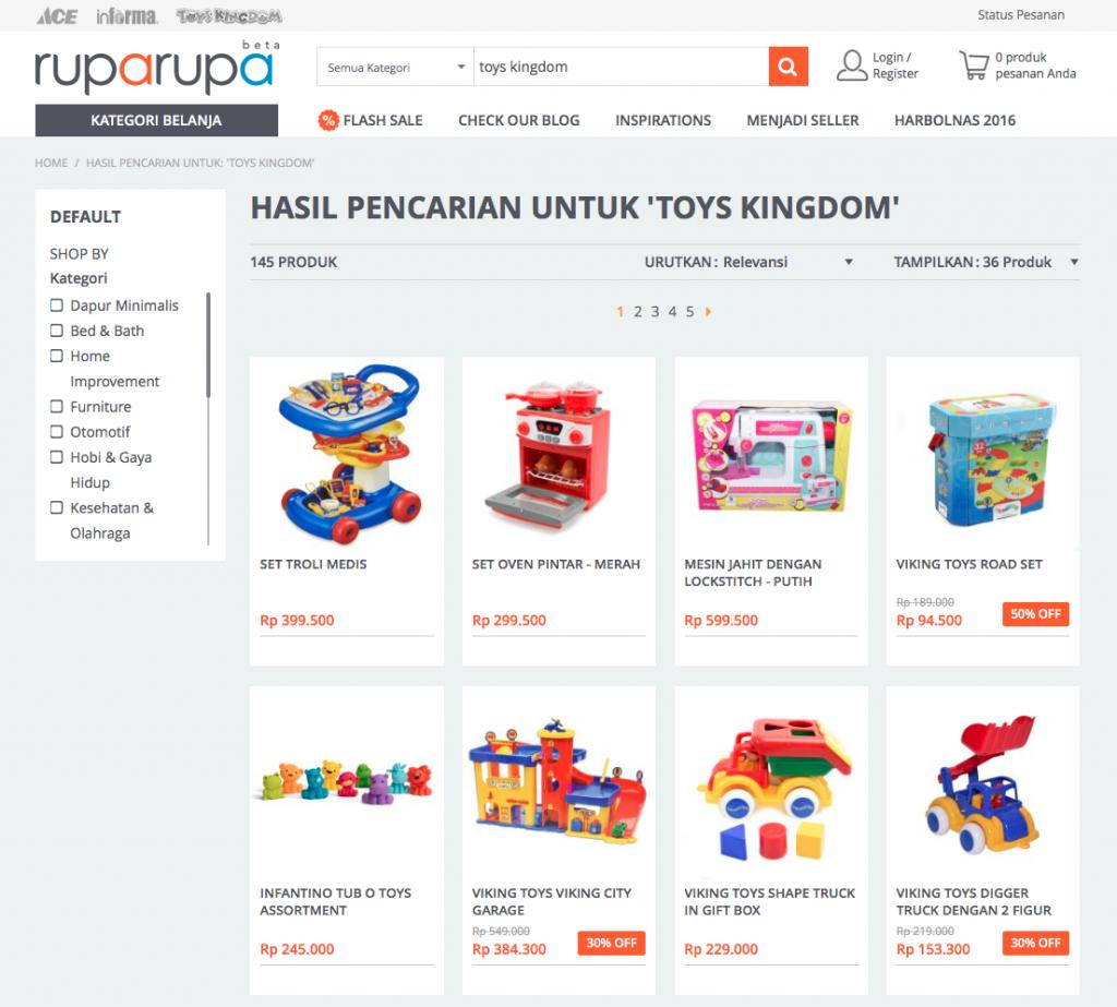 Kode voucher Ruparupa juga tersedia untuk pembelian Toys Kingdom loh