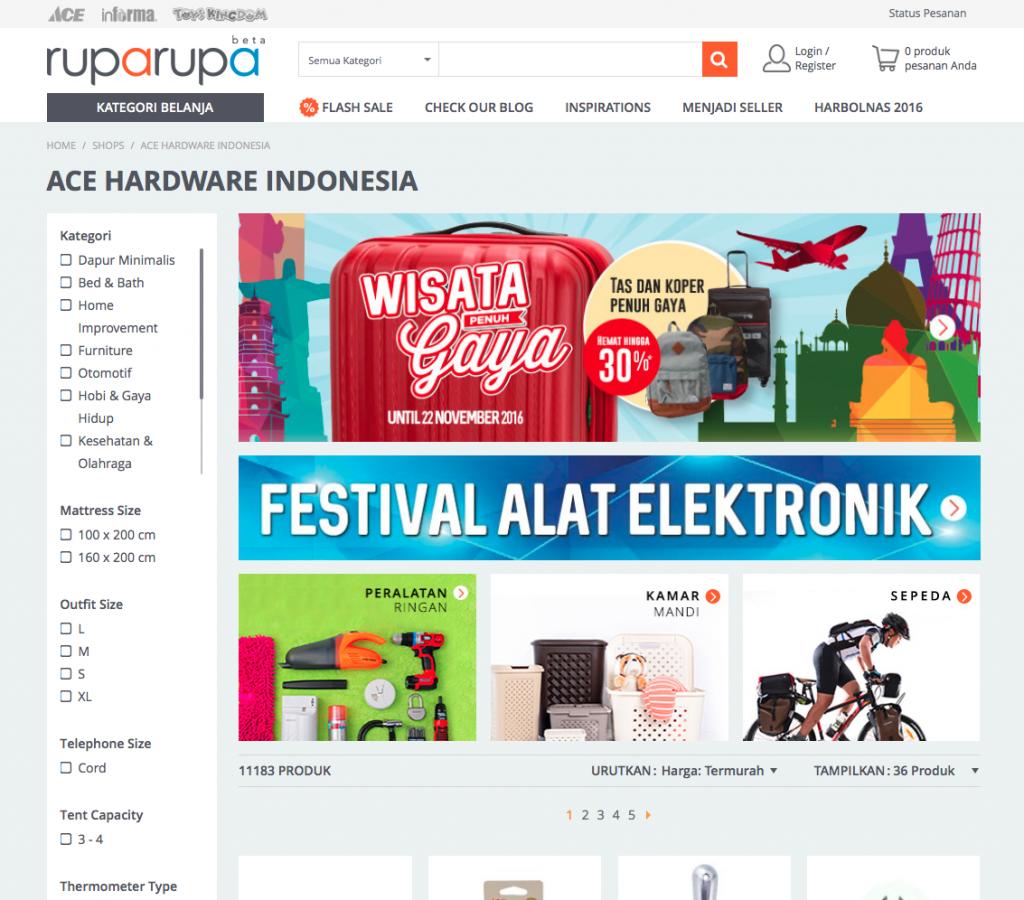 Ruparupa merupakan partner eksklusif dari Ace Hardware dan Toys Kingdom yang menjamin kualitas