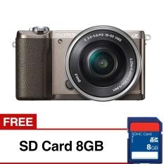 Sony Alpha a5100Kamera Digital Mirrorless - Lensa 16-50mm - 24.3 MP - Coklat+ Gratis SD Card8G