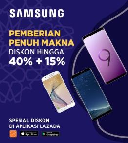 Samsung Produk Juara, Garansi Resmi + diskon up to 40% + 15% untuk Handphone Samsung!