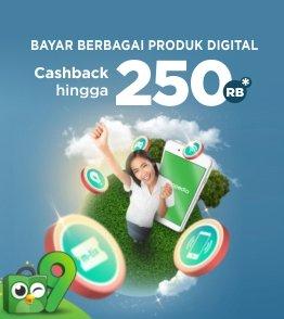 Tokopedia voucher cashback hingga Rp250.000 untuk produk Digital